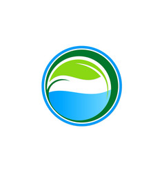 Ecology green leaf water logo vector