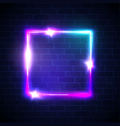 electric rectangle banner on brick wall background vector image