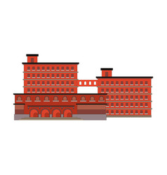 Factory building red icon in the flat style vector