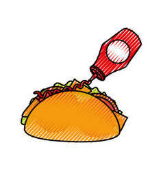 fast food taco mexican ketchup bottle menu vector image