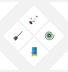 Flat icon garden set of grass-cutter container vector