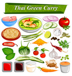 Food and spice ingredient for thai green curry vector