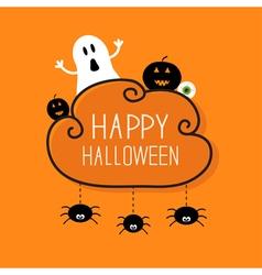 Ghost pumpkin eyeball hanging spiders Halloween vector