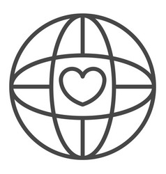 global heart love icon outline style vector image