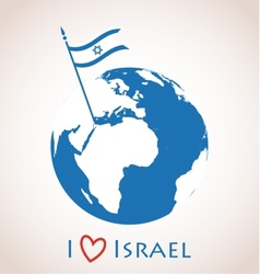 Globe icon with Israel flag vector image