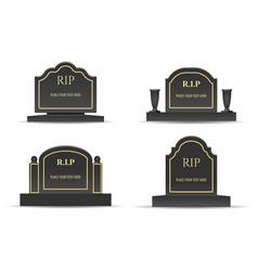 Grave headstones set vector