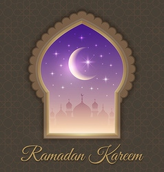 Greeting cards with night landscape with mosques vector
