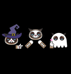 grumpy cats in halloween skeleton witch ghost vector image
