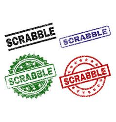 Grunge textured scrabble stamp seals vector