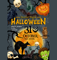 Halloween party monster night poster vector