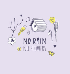 Hand drawn spring fashion objects and quote no vector