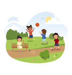 happy little children are playing in park vector image