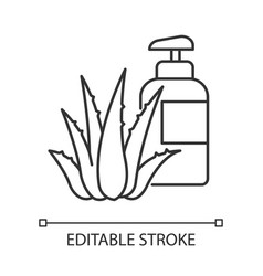 Herbal lotion pixel perfect linear icon plant vector
