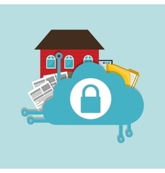 Home security cloud document folder padlock vector