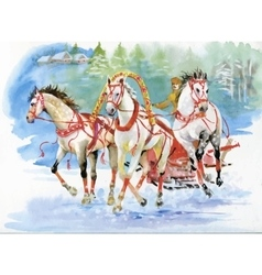 Horse carriage outdoors horses folk painting vector