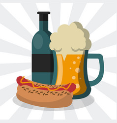 Hot dog and beer cartoon vector