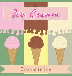 Ice cream in various flavor vector