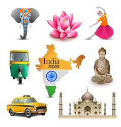 India travel set icons vector image