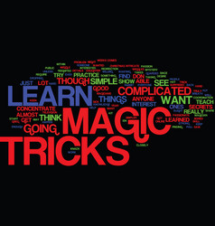 Learn magic tricks text background word cloud vector