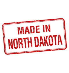 Made in North Dakota red square isolated stamp vector