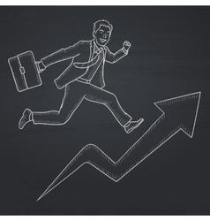 Man running on arrow going upwards vector image