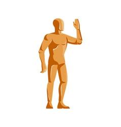 Mannequin human anatomy standing retro vector