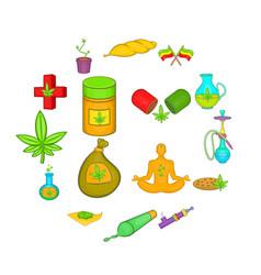 medical marijuana icons set cartoon style vector image