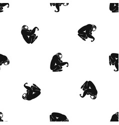 monkey sitting pattern seamless black vector image
