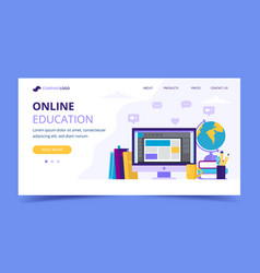 online education landing page with a computer and vector image