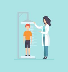 Pediatrician examining a boy in a medical office vector