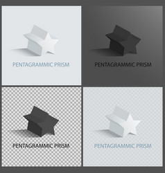 Pentagrammic prisms isolated on black and white vector