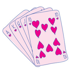 pink playing cards on white background vector image