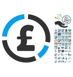 Pound Financial Diagram Icon With 2017 Year Bonus vector image