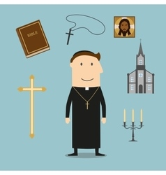 Priest and religious icons or symbols vector