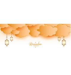 Ramadan kareem islamic lanterns and clouds banner vector