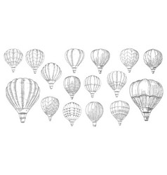 retro hot air balloons hand drawn sketch vector image