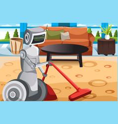 robot vacuuming carpet vector image