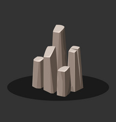 Rock stone icons rocks in isometric image vector