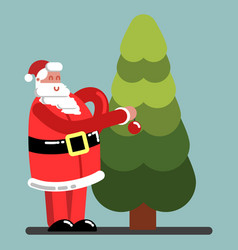 Santa adorns a new year tree vector