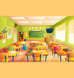 School classroom interior math training vector