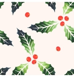Seamless watercolor holly vector