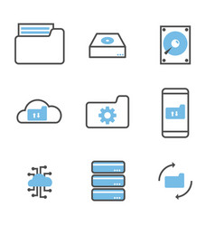 set data storage and processing icons vector image