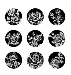 Set of floral banners hand drawn rose vector image