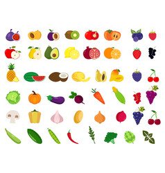 set of fruits and vegetablesorganic food icons vector image