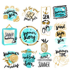 set of hand drawn watercolor signs of summer vector image
