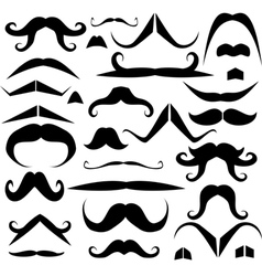 Set of mustaches for fun vector image