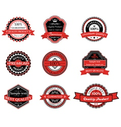set retro labels in black and red colors vector image