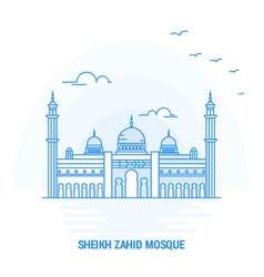 sheikh zahid mosque blue landmark creative vector image