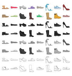 shoes set icons in cartoon style big collection vector image