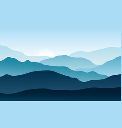 silhouettes mountains with fog forest vector image